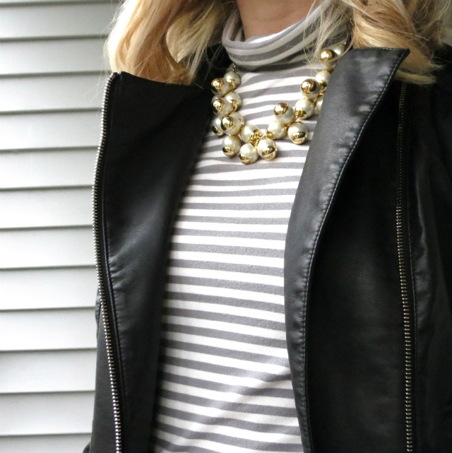 j crew pearl necklace, poetic justice jeans, express minus the leather jacket, nine west flats