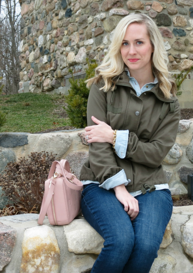 army jacket, target chambray, american eagle jeggings, ankle boots with jeans, belt over jacket, forever 21 bag