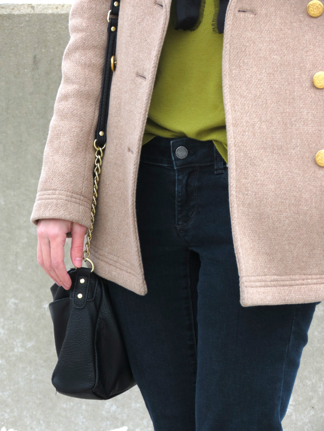 j crew majesty peacoat, ann taylor jeans, sole society colorblock flats, bow shirt, solo sunglasses, winter outfit, cold weather style, ysl corail lipstick