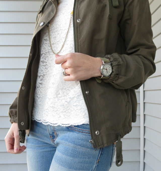 sole society brandi boots, olive army jacket, american eagle jeggings, ann taylor lace shirt, timex weekender, law school style