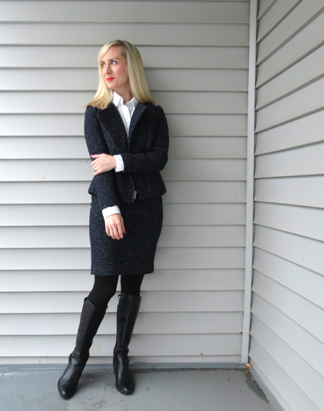 ann taylor tweed suit, boots for the office, knee high boots with pencil skirt, law student style