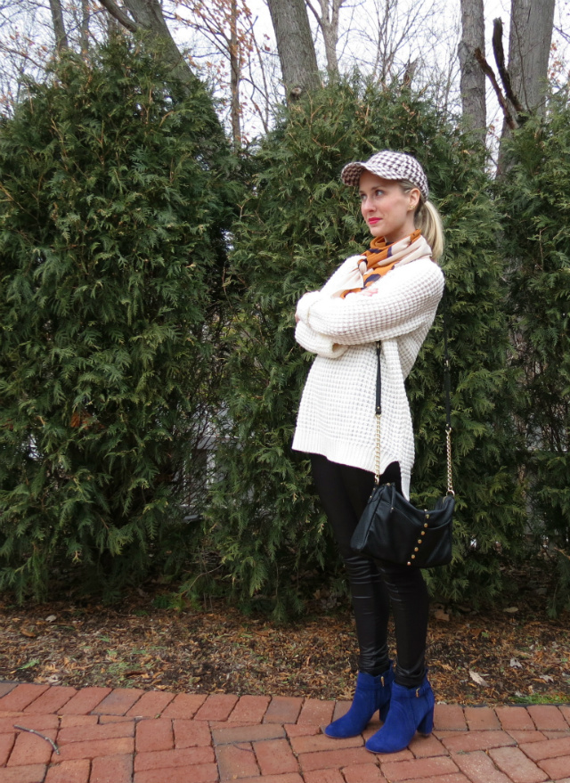 forever 21 sweater, faux leather leggings, j crew houndstooth baseball cap, phillip lim target scarf, dolce vita boots