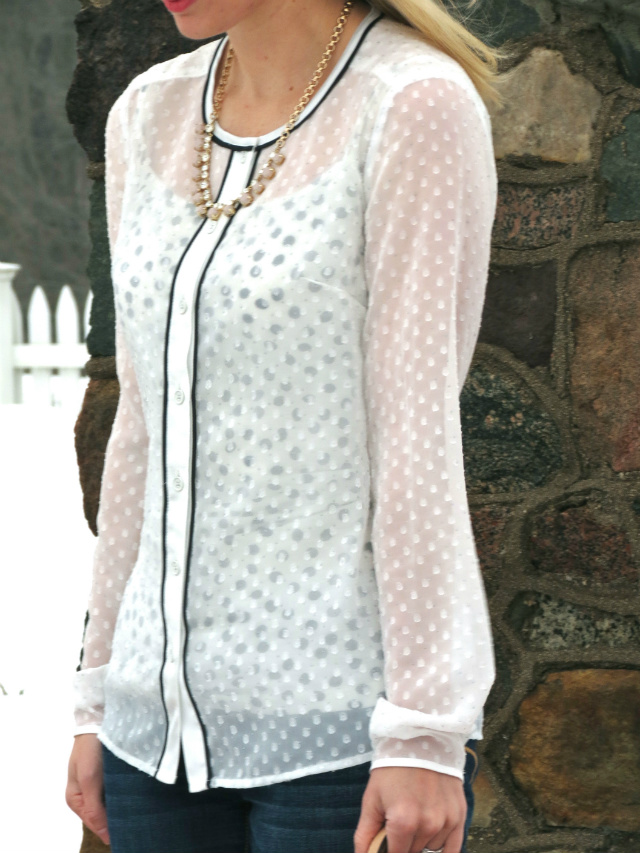 kate spade dorothy parker, sheer dot blouse, polka dots, mac please me matte, indianapolis fashion blog