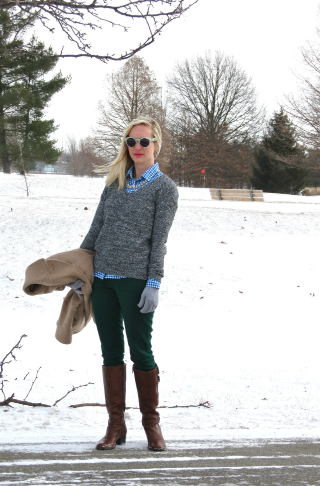 j crew gingham, j crew majesty peacoat, green jeans, matisse equestrian boots, hepcat sunglasses, indianapolis style blog, nars schiap