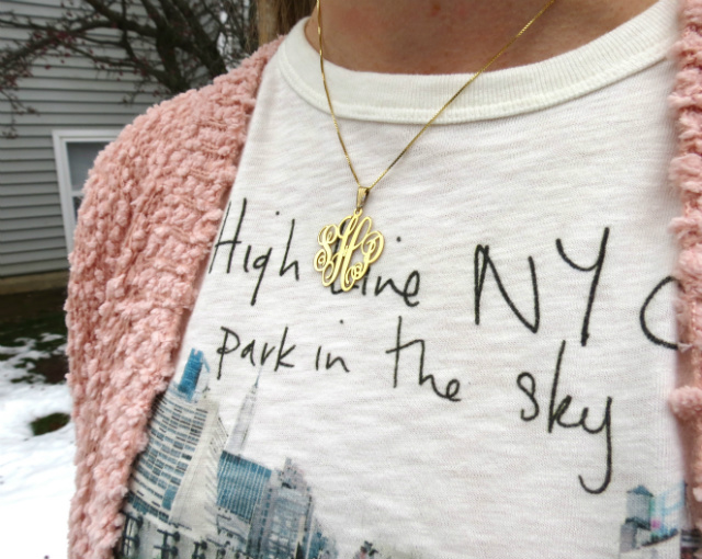 onecklace monogram necklace, forever 21 sweater, high line nyc j crew tee, calvin klein over the knee boots, kate spade dorothy parker