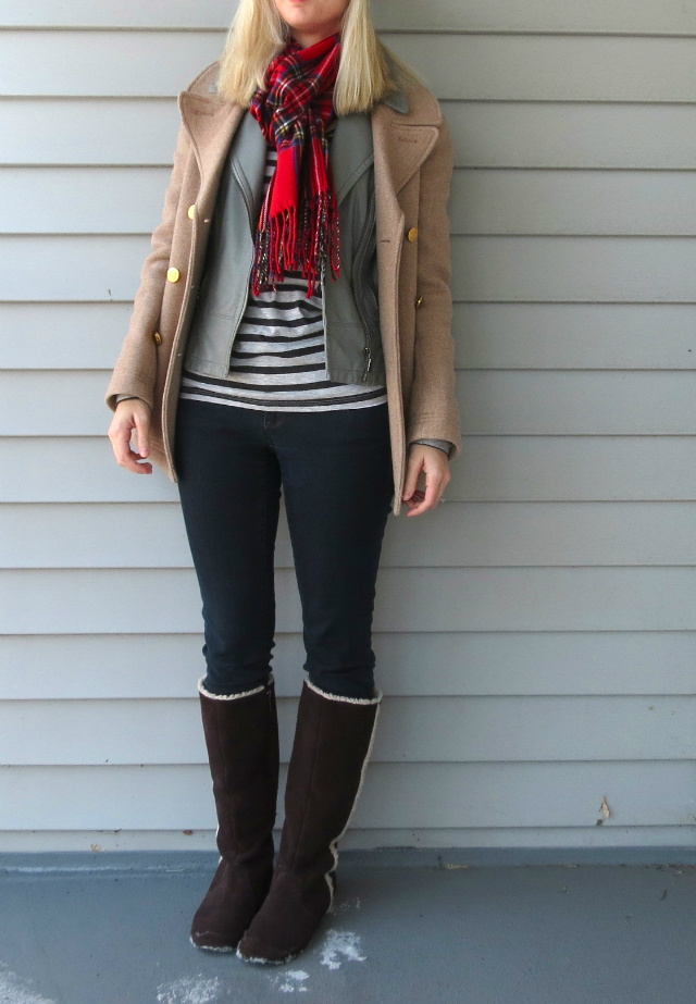 how to make outfits from pinterest, winter fashion, express leather vest, j crew majesty peacoat, blue beanie, madewell sunglasses, plaid scarf, indianapolis style blogger