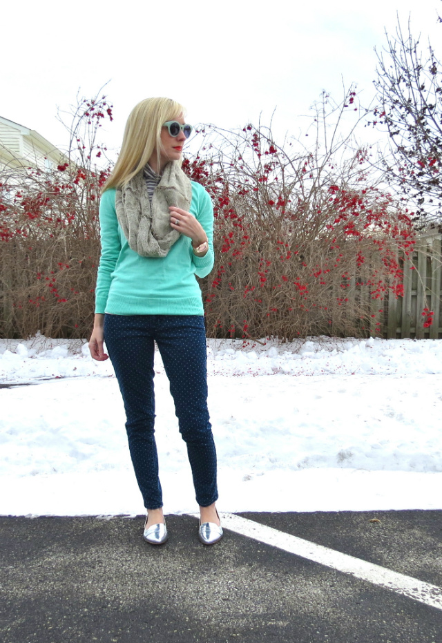 shoemint silver flats, watch for small wrist, j crew mint green, faux fur scarf, madewell hepcat sunglasses, mixing metals