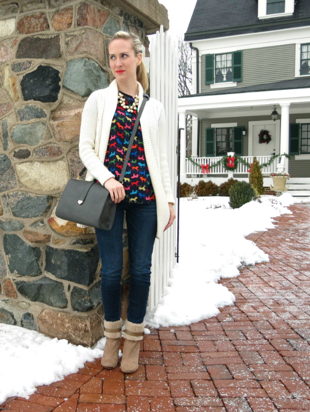 anthropologie animal tee, target boyfriend cardigan, sole society wedge boots, j crew pearl necklace, forever 21 bag, american eagle jeggings