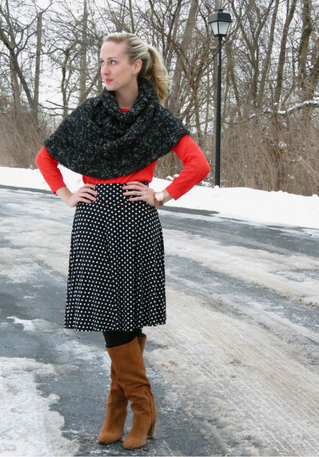 cape, capelet, sole society boots, rose gold watch, rose gold cluster bracelet, polka dot skirt, indiana style blog