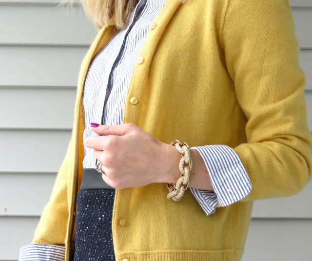 cashmere cardigan, kohls embellished shirt, ann taylor pencil skirt, nine west pumps, j crew pave link bracelet