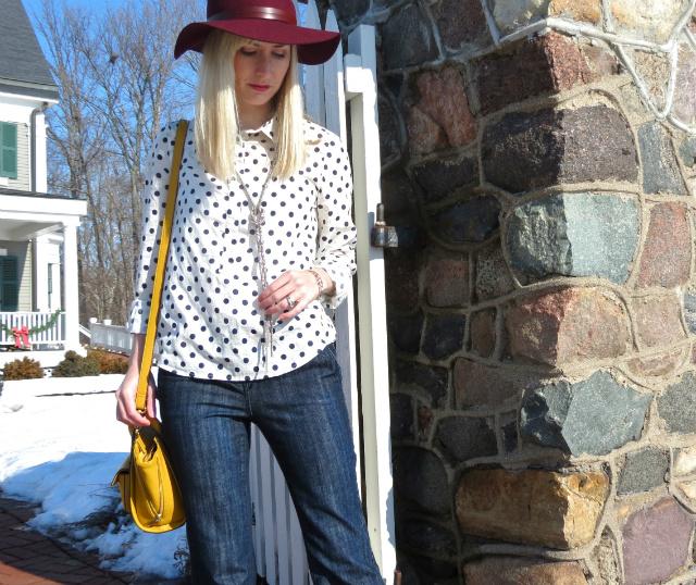 anthropologie burgundy rancher, polka dot popover, phillip lim for target bag, sam edelman leopard booties