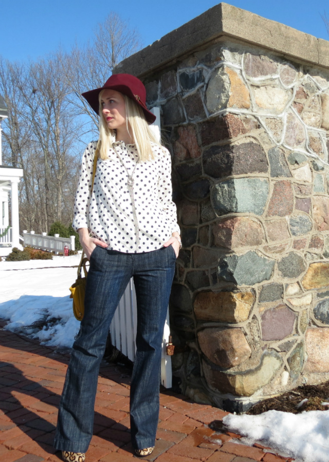 anthropologie burgundy rancher, polka dot popover, phillip lim for target bag, sam edelman leopard booties