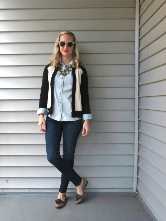 j crew colorblock sweater, madewell hepcat sunglasses, fresh produce necklace, plaid loafers