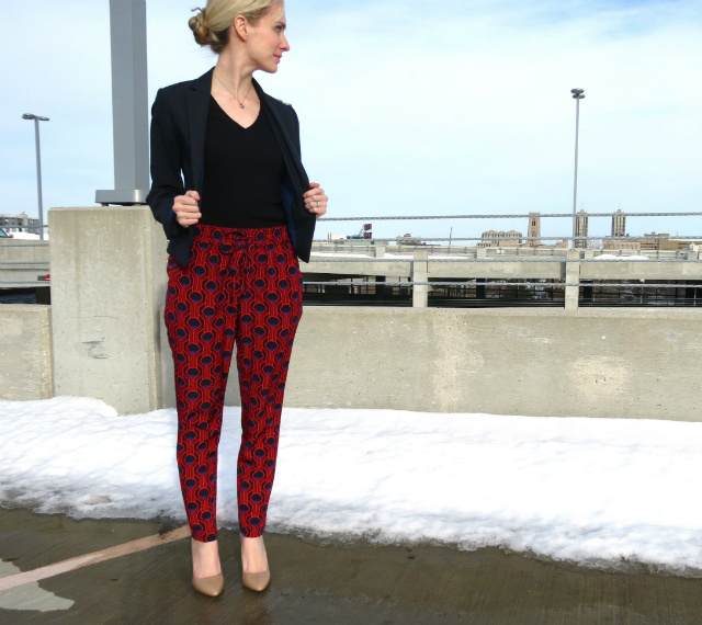 target printed drawstring pants, jessica simpson nude patent pumps, ann taylor blazer