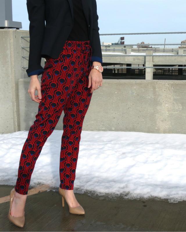 target printed drawstring pants, jessica simpson nude patent pumps, ann taylor blazer