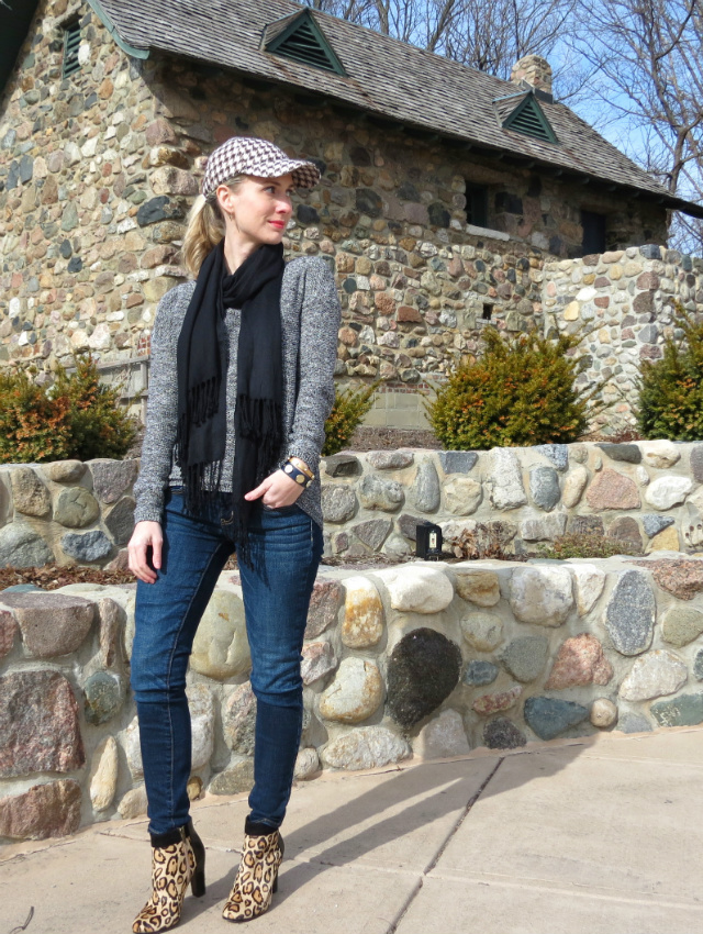 j crew baseball cap, american eagle jeggings, sam edelman leopard booties, law school style, indianapolis style blog