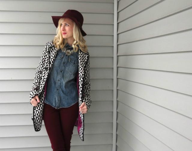 wide brim fedora, madewell chambray, statement coat, bugundy jeans, target combat boots, enza essentials lip treatment, instagram giveaway