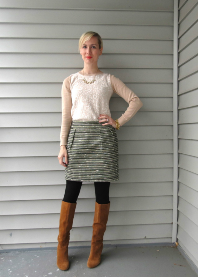 loft lace sweater, tweed mini, sole society brandi boots, ysl corail lipstick, law school style