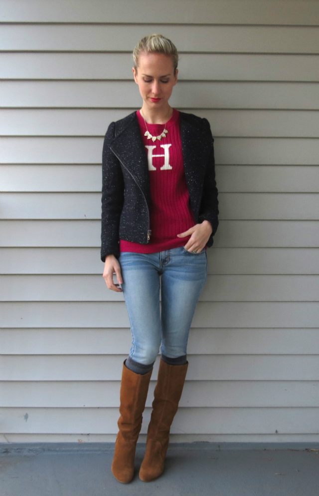 ann taylor tweed moto jacket, initial sweater, sole society boots, wardrobe remix, law school style