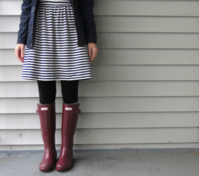 madewell striped dress, target excursion jacket, j crew field jacket dupe, hunter rain boots, max and chloe necklace