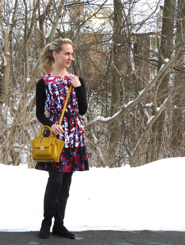 peter pilotto target dress, phillip lim target bag, calvin klein otk boots, monogram necklace, layered necklaces