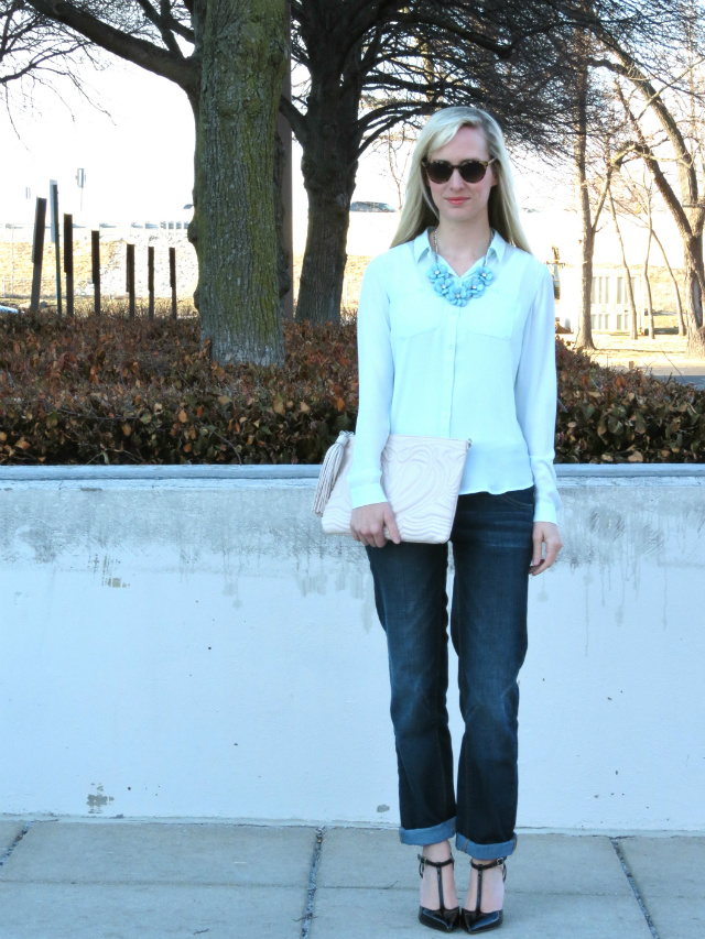 loft mint utility blouse, target flower statement necklace, ny&co slim slouch jeans, shoemint t-strap heels, indianapolis style blog