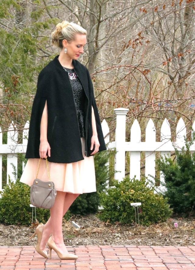 modcloth tutu, sequin peplum, cape, barristers ball outfit, jessica simpson nude pumps, formal event updo