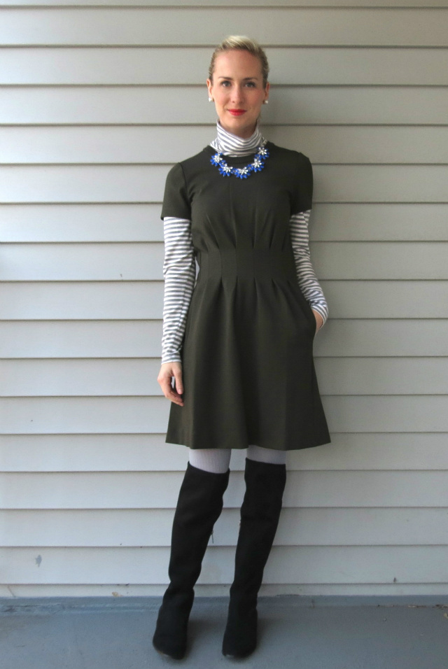 madewell parkline dress, blue statement necklace, turtleneck under dress, calvin klein over the knee boots