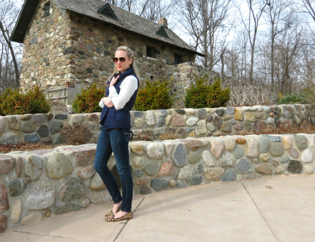 loft mint blouse, navy puffer vest, cole haan leopard loafers, just cavalli aviators