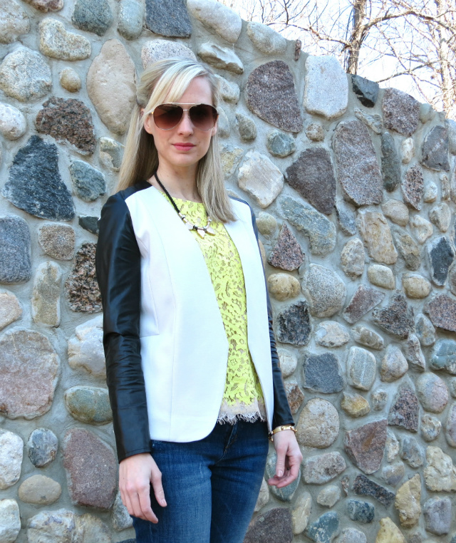 h&m leather sleeve jacket, ann taylor lace top, joe's jeans, shoemint flats, just cavalli aviators, asos necklace