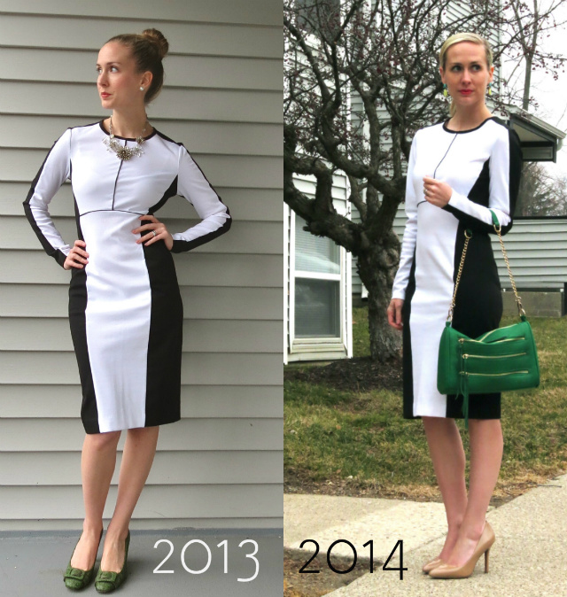 black and white sheath dress, yellow trench, jessica simpson nude pumps, rebecca minkoff inspired bag