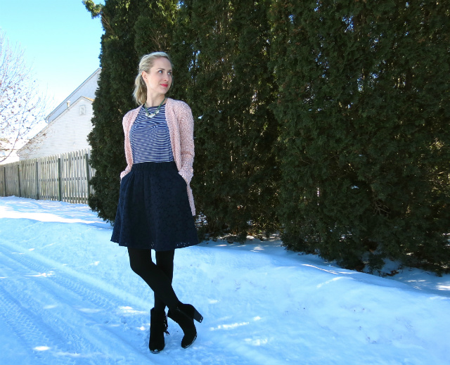 navy and pink, fringe ankle boots, pinterest inspired outfit