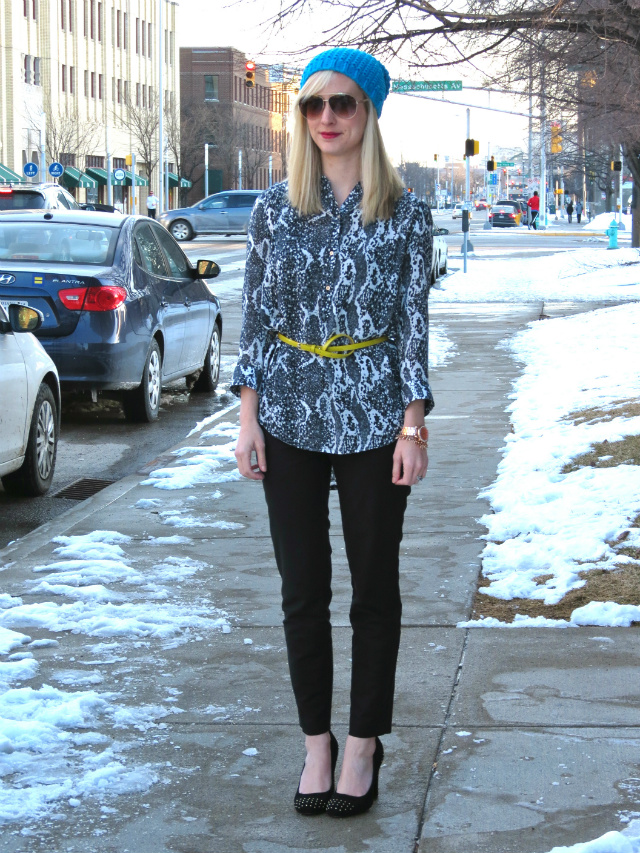 h&m snake print top, belted tunic, ann taylor skinny pants, blue beanie, just cavalli aviators, anne klein studded pumps