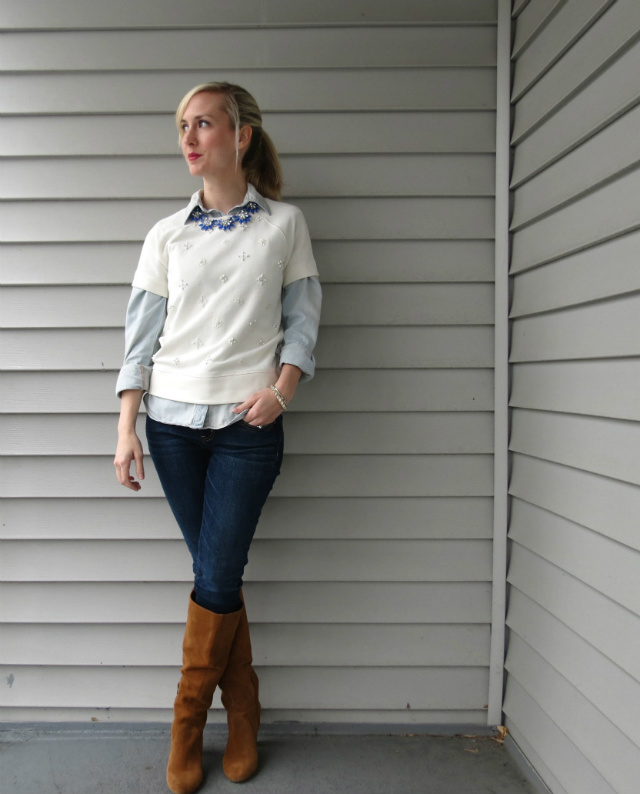 j crew factory embellished sweatshirt, short sleeve sweatshirt, sole society boots, chambray, statement necklace