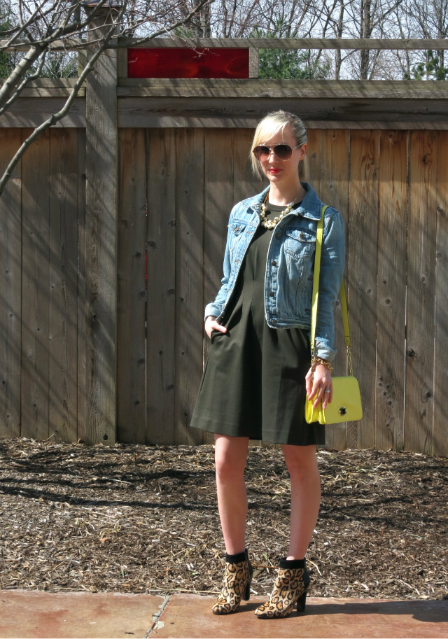 madewell parkline dress, sam edelman leopard booties, forever 21 jean jacket, j crew pearl necklace, yellow crossbody bag, spring style 2014