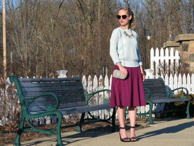 asos midi skirt, loft pale blue sweater, h&m studded heels, loft gemstone clutch, indianapolis style blog