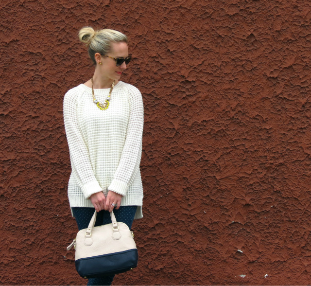 stella dot norah pendant, polka dot jeans, jessica simpson nude pumps, target colorblock bag, kate spade sunglasses