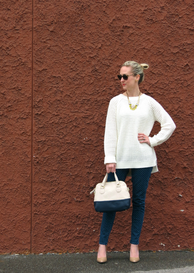 stella dot norah pendant, polka dot jeans, jessica simpson nude pumps, target colorblock bag, kate spade sunglasses