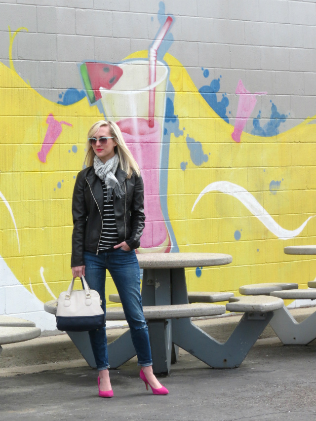 express minus the leather jacket, loft striped tee, sole society pink pumps, loft sunglasses