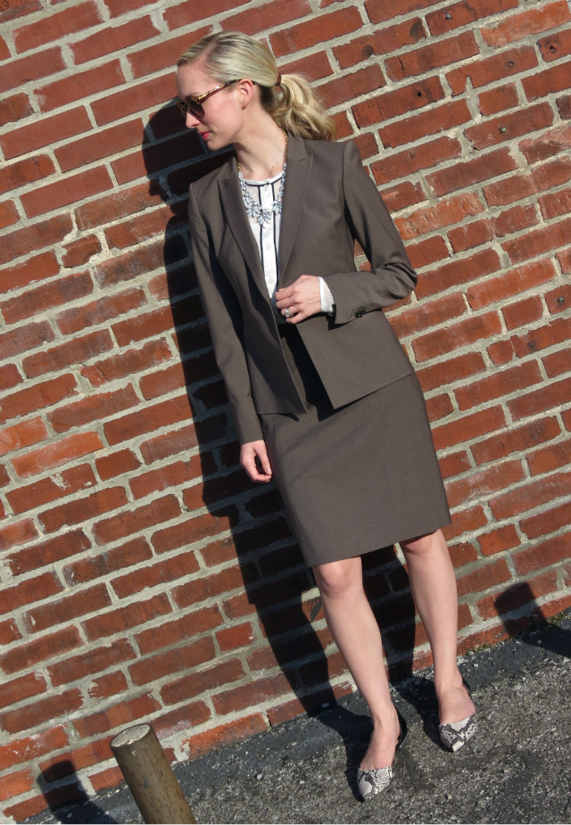 ann taylor suit, q mack blouse, j crew factory statement necklace, sam libby target flats