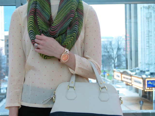silk polka dot tee, ann taylor skinny pants, j crew flats, rose gold watch, indianapolis style blog