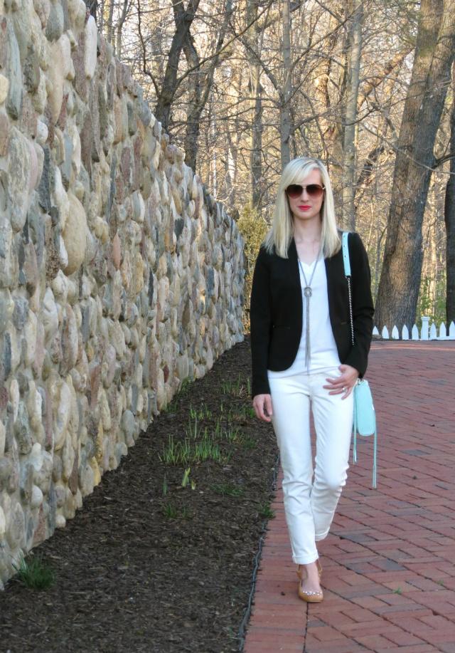 white jeans, white tee, h&m blazer, bejeweled flats, just cavalli aviators, mint rebecca minkoff mac