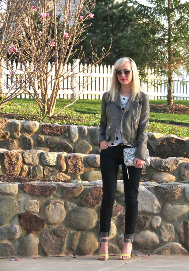 h&m faux leather jacket, polka dot tee, american eagle jeggings, chinese laundry sandals, snakeskin clutch, loft mint sunglasses