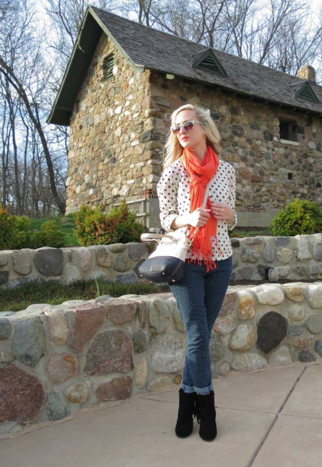 fringe ankle boots, fringe scarf, double polka dots, colorblock bag, loft mint sunglasses