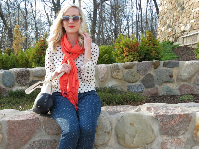fringe ankle boots, fringe scarf, double polka dots, colorblock bag, loft mint sunglasses
