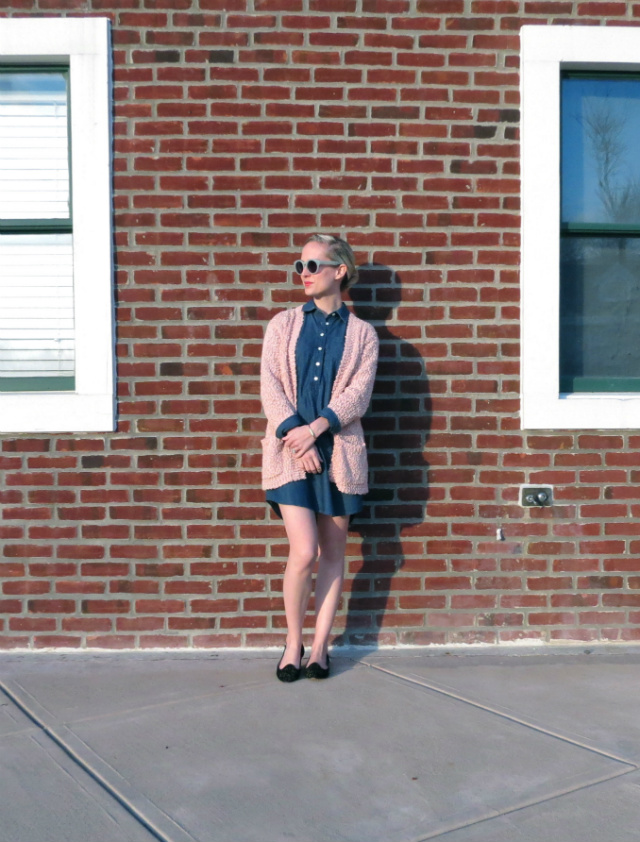 blush cardigan, chambray dress, studded loafers, midi ring, hepcat shades