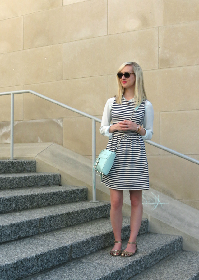 madewell striped dress, dress over shirt, mint rebecca minkoff mac, mixed metallics, steve madden sandals, indianapolis style blog