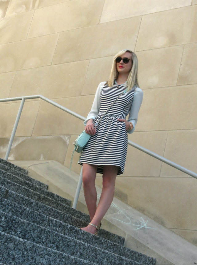 madewell striped dress, dress over shirt, mint rebecca minkoff mac, mixed metallics, steve madden sandals, indianapolis style blog