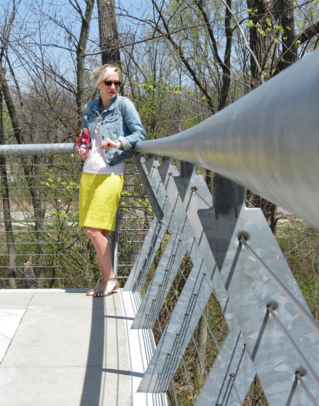 neon pencil skirt, white tee, jean jacket, c wonder clutch, steve madden gold sandals, indianapolis style blog