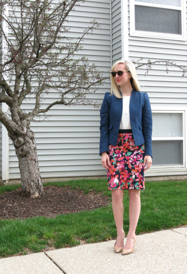 floral pencil skirt, h&m blazer, j crew jeweled sweatshirt, jessica simpson nude pumps, indianapolis style blog